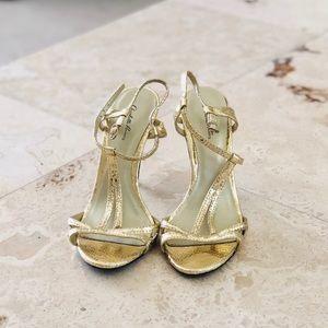 Gold Snakeskin Strappy Heels